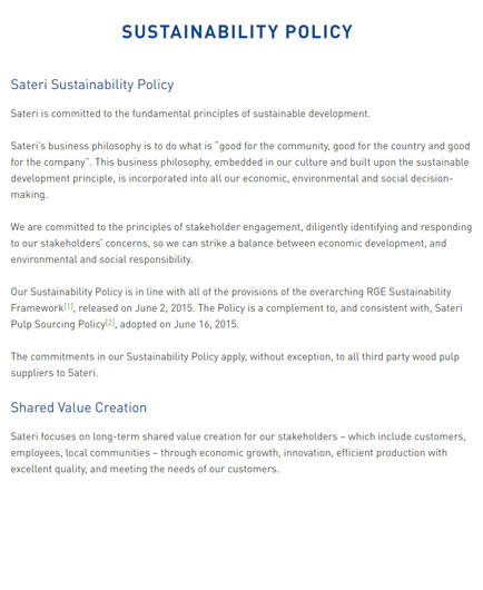 Sateri Sustainability Policy